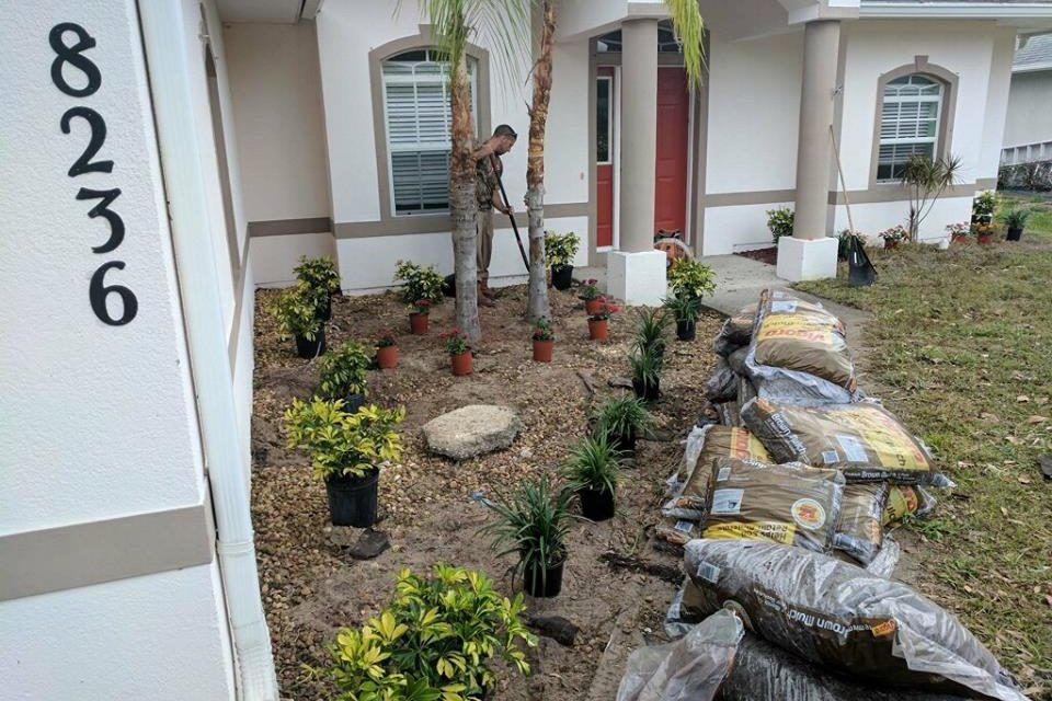 Country Green Lawn and Landscape, fron yard makeover in Vero Lake estates
